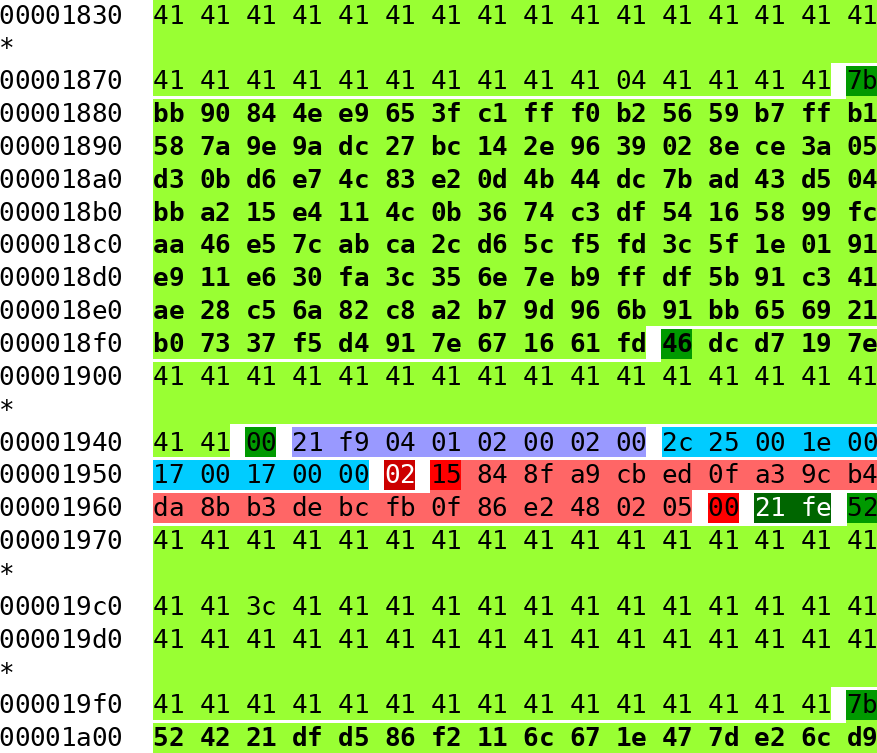 hexdump of a used square