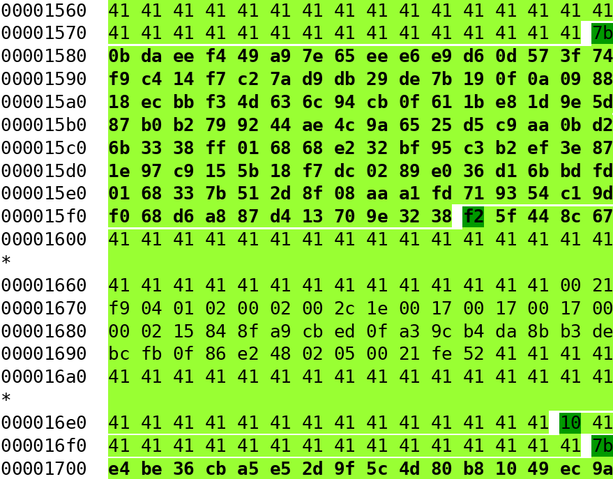 hexdump of a commented square